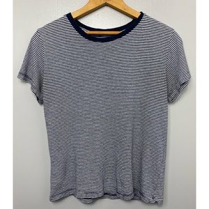 BRANDY MELVILLE Navy Blue and White Tee